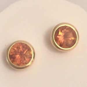 Jewelry - Solid 14K Gold Designer Ear Studs Madeira Citrine